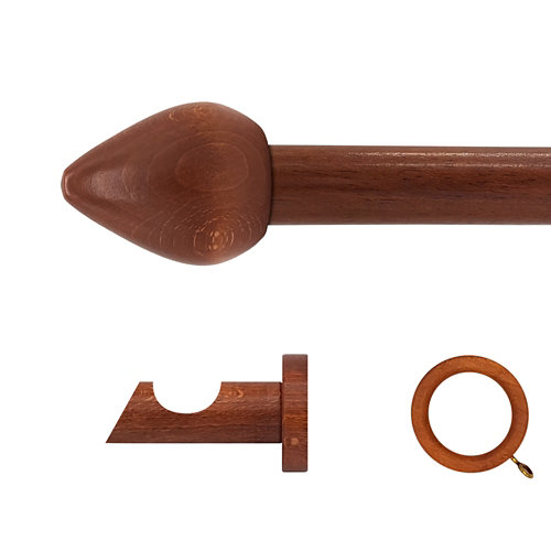 Kit barra madera ø 28mm seta cerezo 150cm c/anillas pared