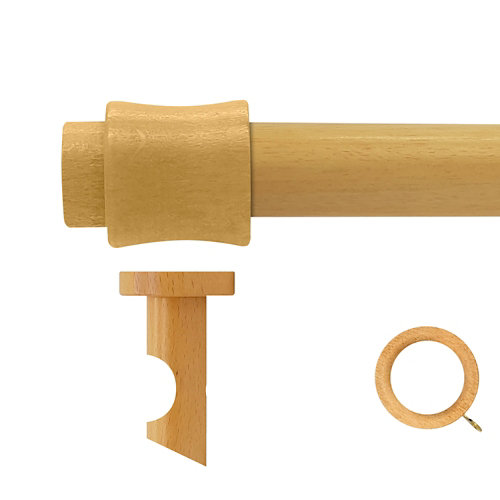 Kit barra madera ø 28mm cata pino 250cm c/anillas techo