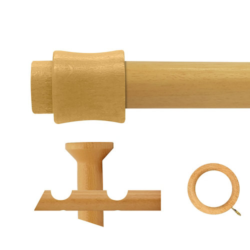 Kit 2 barras madera ø 28mm cata pino 300cm c/anillas techo
