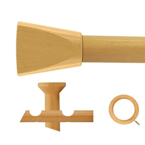 Kit 2 barras madera ø 28mm meta pino 250cm c/anillas techo