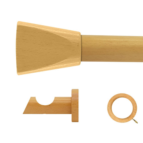 Kit barra madera ø 28mm meta pino 250cm c/anillas pared