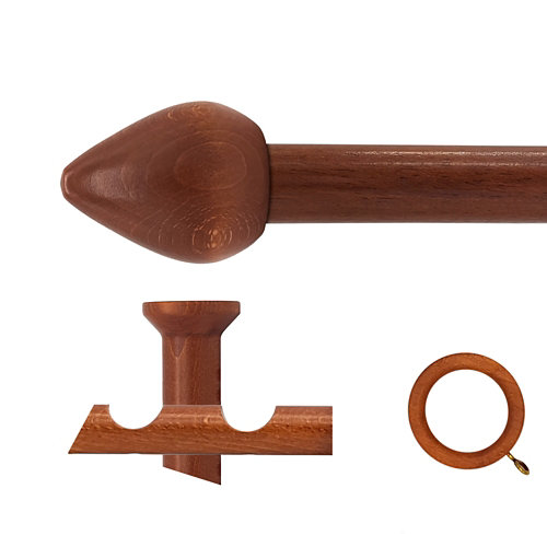 Kit 2 barras madera ø 28mm seta cerezo 300cm c/anillas techo