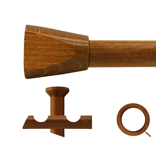 Kit 2 barras madera ø 28mm meta roble 150cm c/anillas techo