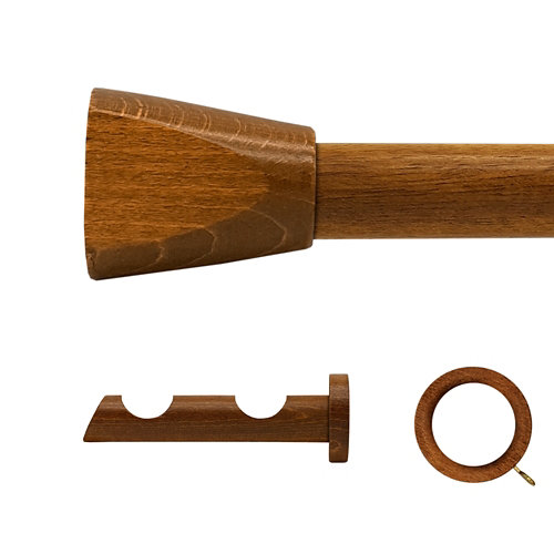 Kit 2 barras madera ø 28mm meta roble 200cm c/anillas pared