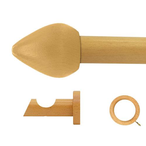 Kit barra madera ø 28mm seta pino 200cm c/anillas pared