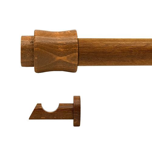 Kit barra madera ø 20mm cata roble 300cm s/anillas pared