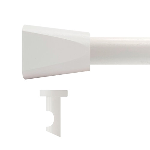 Kit barra madera ø 28mm meta blanco 300cm s/anillas techo