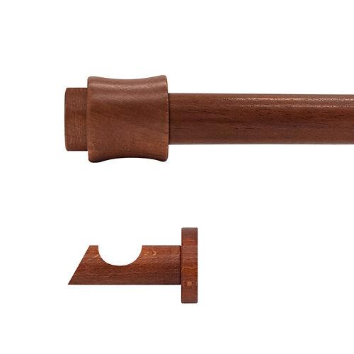 Kit barra madera ø 20mm cata cerezo 250cm s/anillas pared