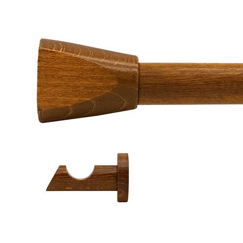 Kit barra madera ø 20mm meta cerezo 150cm s/anillas pared