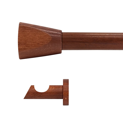 Kit barra madera ø 28mm meta cerezo 200cm s/anillas pared
