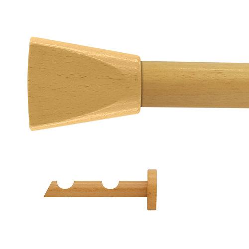 Kit 2 barras madera ø 20mm meta pino 200cm s/anillas pared