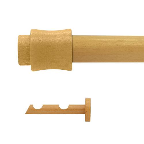 Kit 2 barras madera ø 28mm cata pino 200cm s/anillas pared