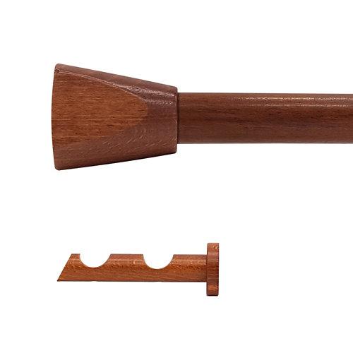 Kit 2 barras madera ø 28mm meta cerezo 200cm s/anillas pared