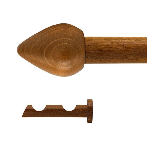 Kit 2 barras madera ø 28mm seta roble 200cm s/anillas pared
