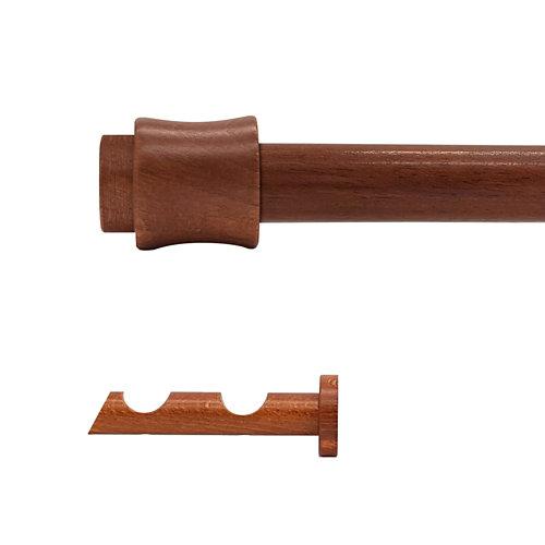 Kit 2 barras madera ø 28mm cata cerezo 300cm s/anillas pared