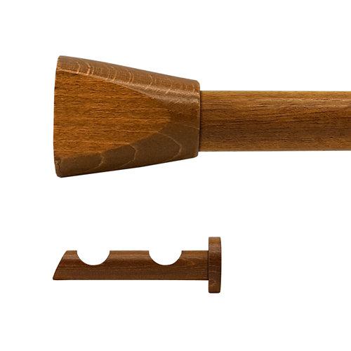 Kit 2 barras madera ø 28mm meta roble 200cm s/anillas pared