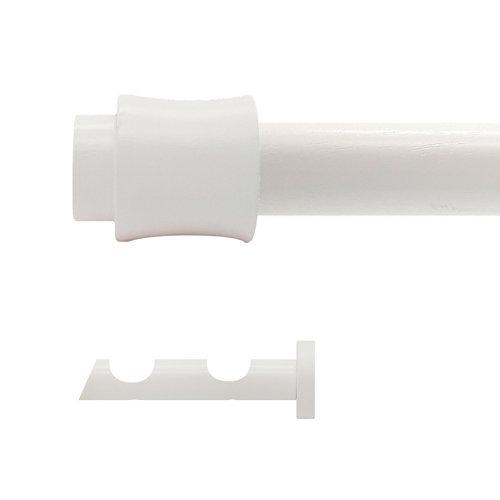 Kit 2 barras madera ø 20mm cata blanco 200cm s/anillas pared
