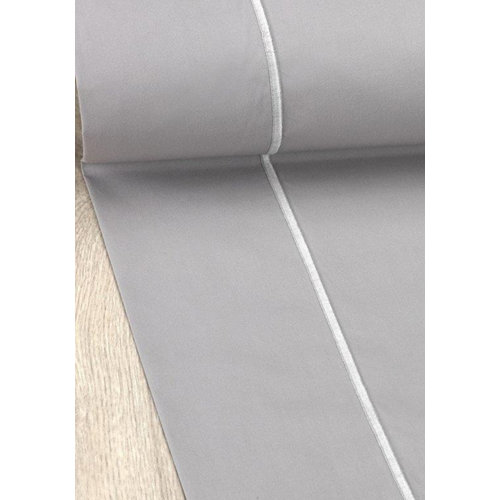 Sábana encimera algodón gris / plata para cama 135 / 140 cm