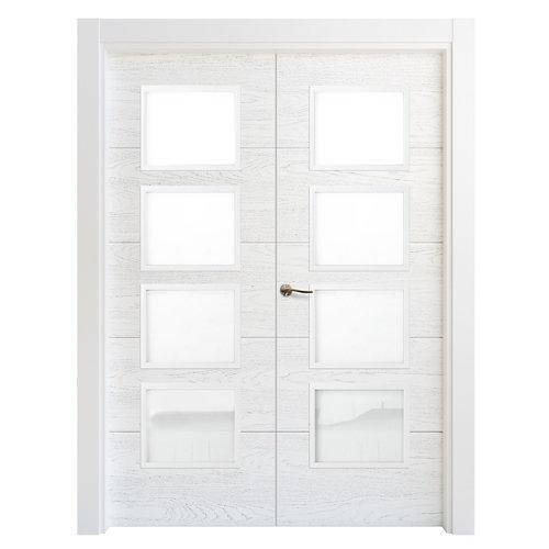 Puerta doble acristalada lucerna premium blanca i 9x125 cm