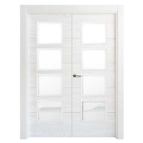 Puerta doble acristalada lucerna premium blanca d 9x115 cm