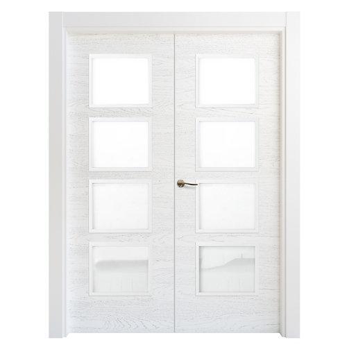 Puerta doble acristalada bari premium blanco i 7x105 cm