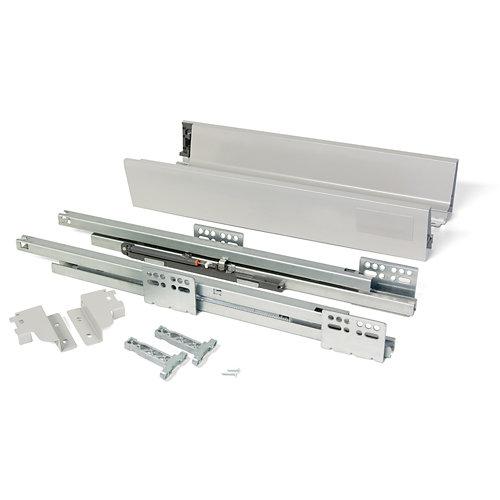 Kit cajón de acero gris 83mm x 500mm con cierre soft