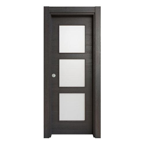 Puerta corredera acristalada berna azabache 82,5 cm
