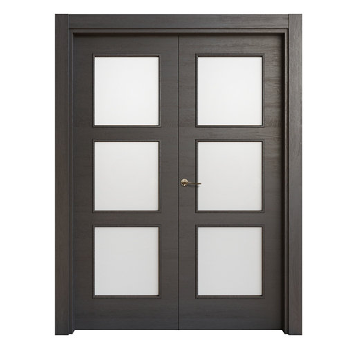 Puerta doble acristalada oslo azabache i 7x145 cm