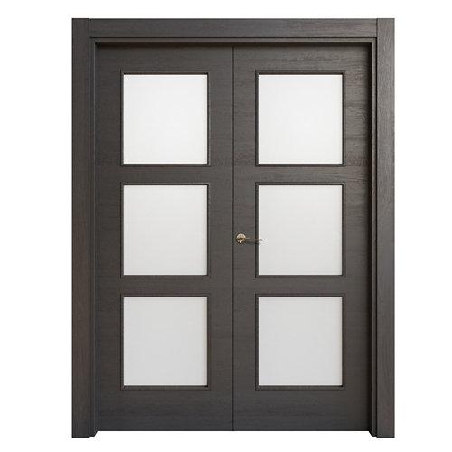 Puerta doble acristalada oslo azabache i 9x115 cm