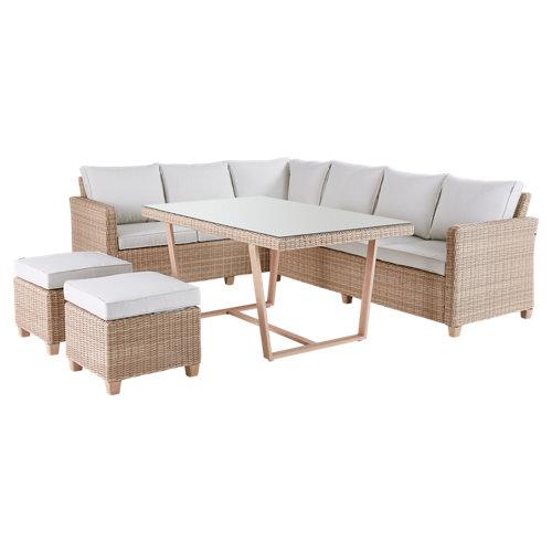 Set de muebles de exterior de aluminio y ratán naterial medena 7 personas