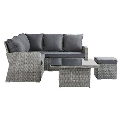 Set de muebles de porche naterial davos de aluminio y ratán 6 personas