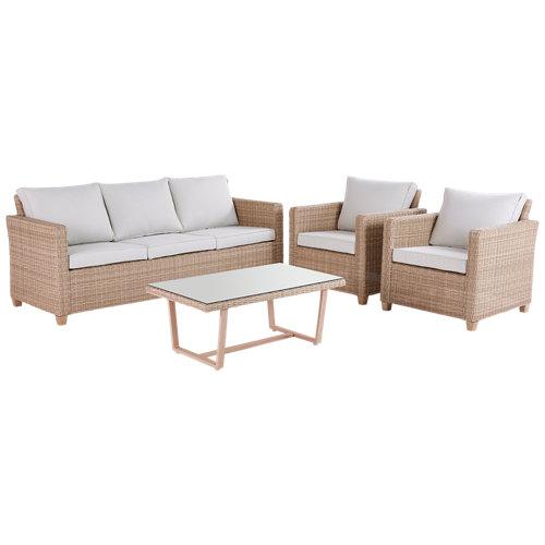 Set de muebles de porche de aluminio y ratán naterial medena 5 personas