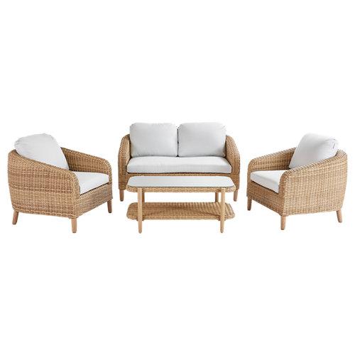 Set de muebles de porche de aluminio y ratán naterial odeón 4 personas