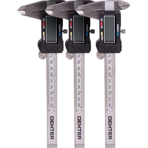 Lote 3 calibres digitales de precisión dexter 150mm y precisión 1/100