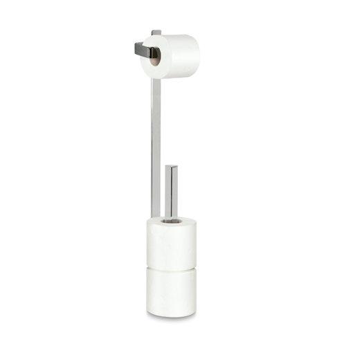 Portarollo wc alessandria gris / plata brillante 13x56x9,5 cm