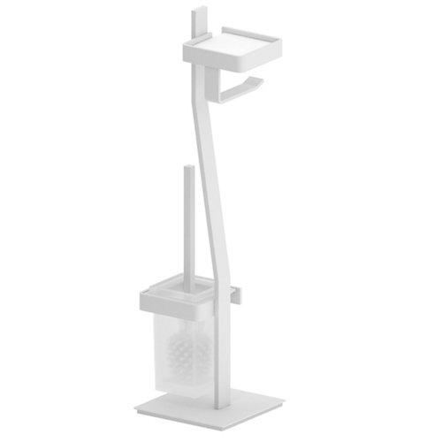Escobillero y portarollo róterdam acero blanco 19x59,5 cm