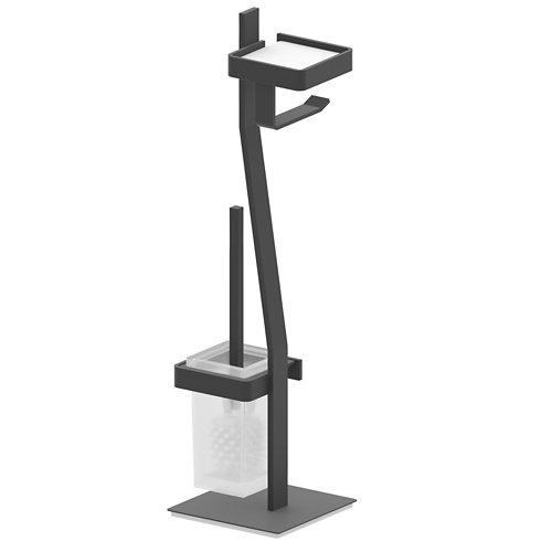 Escobillero y portarollo róterdam acero 19x59,5 cm