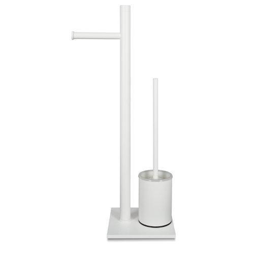 Escobillero y portarollo acero blanco 24 x54 cm