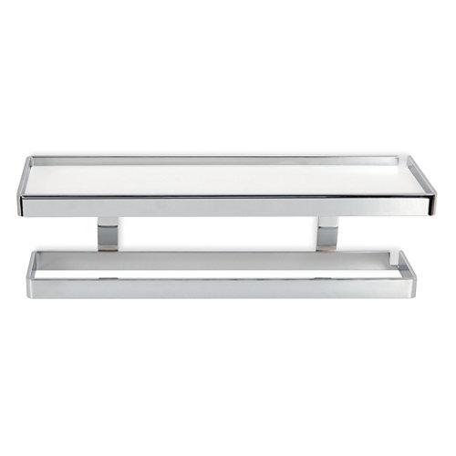 Toallero pared gris / plata cromado brillante 45x14.5 cm