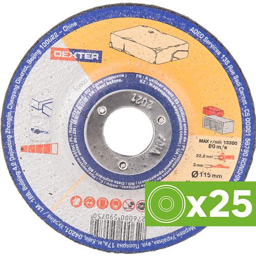 Lote 25 discos de corte amoladora dexter de óxido de alúmina y 230 mm ø