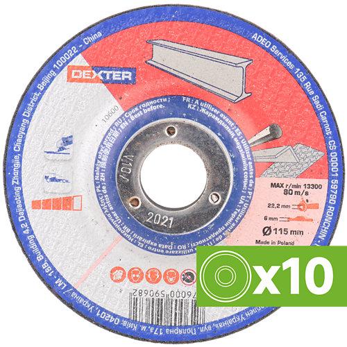 Lote 10 discos de desbaste dexter de óxido de alúmina 115 mm ø