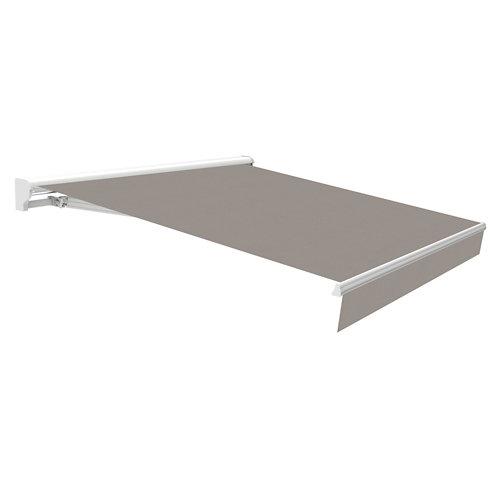 Comprar Toldo osaka brazo extensible motorizado con semicofre blanco y tela gris 3,95x2m