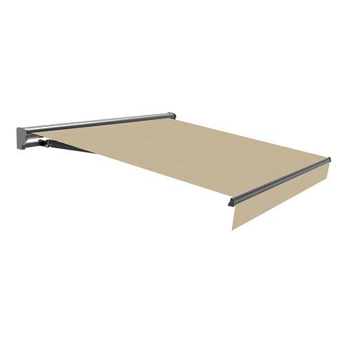 Toldo osaka brazo extensible motorizado semicofre gris y tela beige 4,75x3m