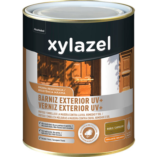 Barniz exterior uv plus brillante xylazel 750 ml roble