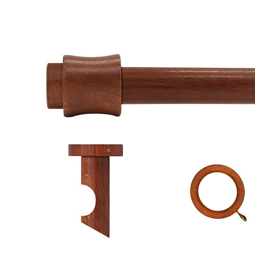 Kit barra madera ø 28mm cata cerezo 200cm c/anillas techo