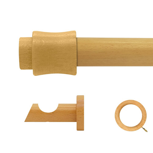 Kit barra madera ø 28mm cata pino 250cm c/anillas pared