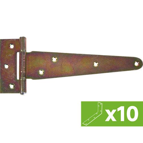 Lote 10 bisagras en forma de t de hierro bicromatado