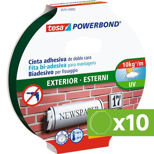Lote 10 cintas adhesivas doble cara de fijación tesa 1,9x500x cm