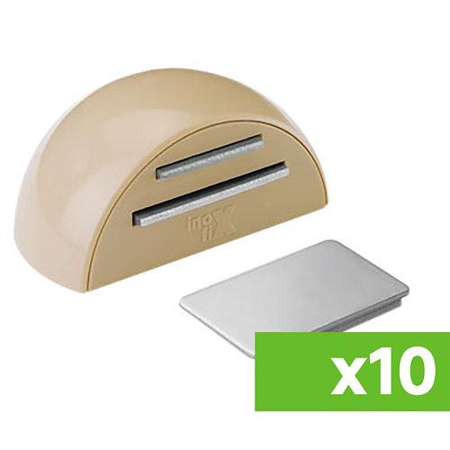 Lote 10 topes para puerta adhesivos de suelo magnéticos de color beige