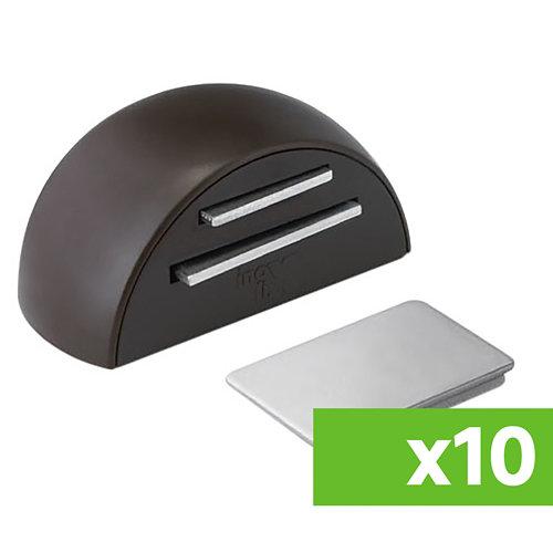 Lote 10 topes para puerta adhesivos de suelo magnéticos de color marrón